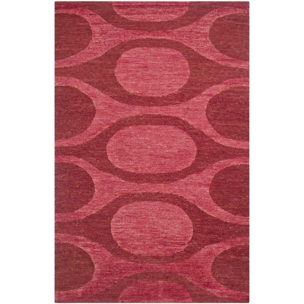 Safavieh Hand-knotted Santa Fe Contemporary Raspberry/ Red Wool Rug - 9' x 12'