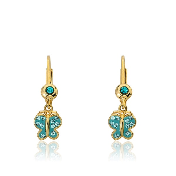 Molly Glitz Shine Bright 14k Gold-Plated Huggy Earring With Crystal Blue Butterfly /& Aqua Ball Dangle.