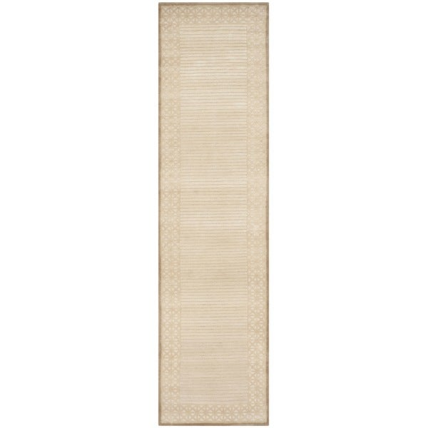 Safavieh Hand-knotted Nepalese Ivory/ Beige Wool Rug (2'6 x 10')