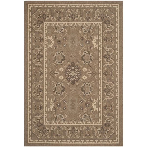 Safavieh Courtyard Charm Brown/ Cream Indoor/ Outdoor Rug - 6'7 x 9'6