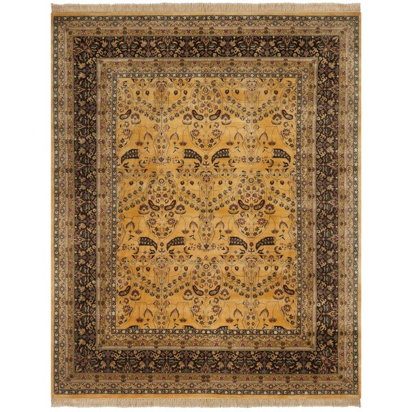Safavieh Hand-knotted Ganges River Gold/ Dark Brown Wool Rug - 9' x 12'