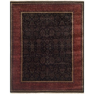 Safavieh Couture Hand-knotted Ganges River Shantell Traditional Oriental Wool Rug with Fringe (9 x 12 - Black/Rust)