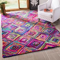 Safavieh Handmade Nantucket Modern Abstract Multicolored Cotton Rug - Red/blue - 9' x 12'