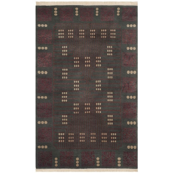 Safavieh Hand-knotted Nepalese Grey/ Rust Wool Rug - 9' x 12'