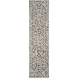 Safavieh Handmade Savonnerie Smoke Wool/ Viscose Rug (2'6 x 10')