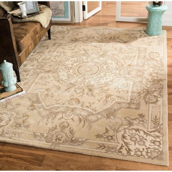 Safavieh Handmade Savonnerie Sand Wool/ Viscose Rug - 10' x 14'
