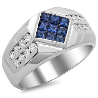 14k White Gold 3/4 ct TDW Men's Diamond and 1 ct Sapphire Ring (F-G, SI1-SI2)