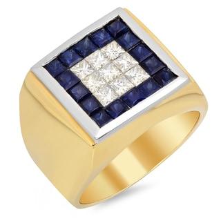 14k Yellow Gold Men's 1 1/3 ct TDW Diamond and 2 4/5 ct Sapphire Ring (F-G, VS1-VS2)