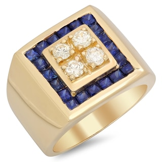14k Gold Men's 3/5ct TDW Diamond and Sapphire Ring (F-G, SI1-SI2)