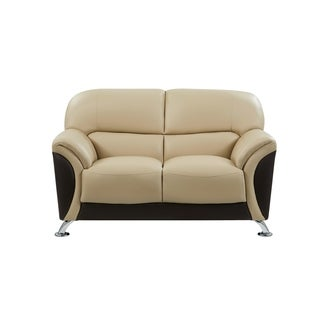 Cappuccino and Chocolate Two-tone PVC Modern Loveseat