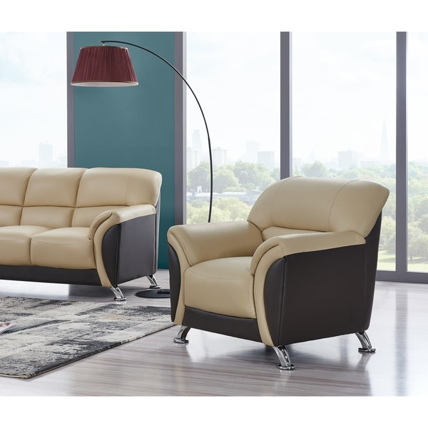 Cappuccino and Chocolate Two-tone PVC Modern Chair
