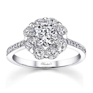 Barkev's Designer 14k White Gold 1 5/8ct TDW White Diamond Flower Engagement Ring (F-G, SI1-SI2)