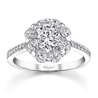 Barkev's Designer 14k White Gold 1 5/8ct TDW White Diamond Flower Engagement Ring