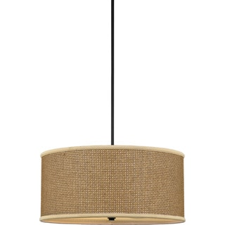 Quoizel 'Zen' Tan Rattan Shade 4-light Pendant