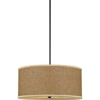 Quoizel 'Zen' Tan Rattan Shade 4-light Pendant
