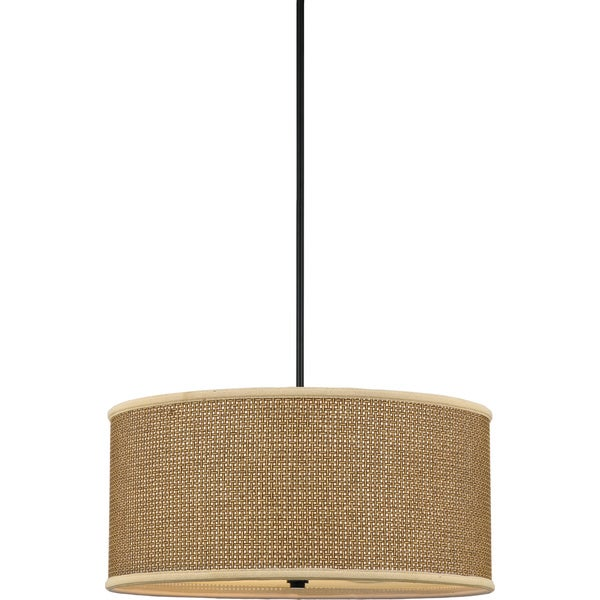 Quoizel X27 Zen Tan Rattan Shade 4 Light Pendant