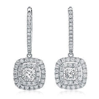 Azaro 14k White Gold 1 1/5ct TDW Cushion Diamond Leverback Earrings