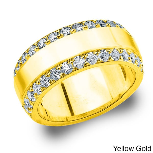 Amore 14k Gold 1ct TDW Railroad Design Diamond Anniversary Band