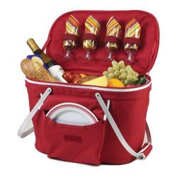 Picnic at Ascot Collapsible Insulated Picnic Basket for Four Red