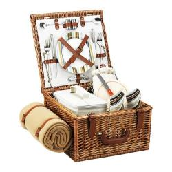 Picnic at Ascot Cheshire Basket for Two with Blanket Wicker/Santa Cruz
