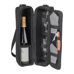 Picnic at Ascot Sunset Deluxe Wine Carrier for Two Black/Gingham