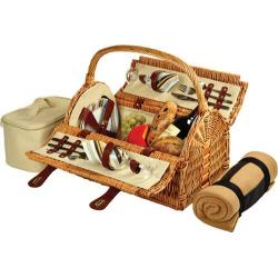 Picnic at Ascot Sussex Picnic Basket for Two with Blanket Wicker/Santa Cruz Stripe