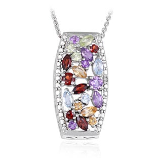 Glitzy Rocks Silvertone Multi-gemstone and Diamond Accent Necklace