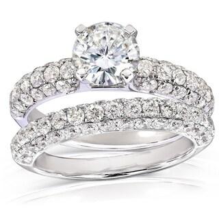 Annello by Kobelli 14k Gold 2 3/4ct TGW Moissanite and Micro Pave Diamond Bridal Rings Set (2 Piece Set)