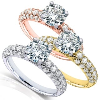 Annello by Kobelli 14k Gold 1 3/4ct TGW Moissanite and Micro Pave Diamond Engagement Ring (HI/VS, GH/I)