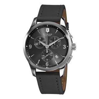 Swiss Army Men's 241479 'Alliance' Grey Dial Grey Leather Strap Watch