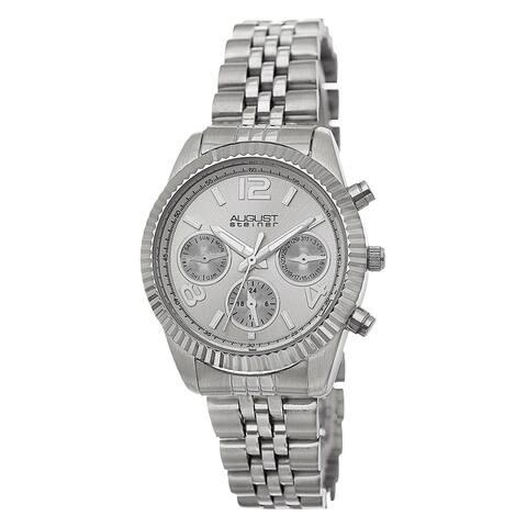 August Steiner Women's Swiss Quartz Multifunction Stainless Steel Silver-Tone Bracelet Watch