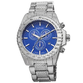 August Steiner Men's Tachymeter Swiss Quartz Chronograph Blue Bracelet Watch