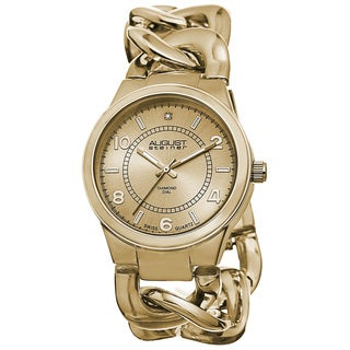 August Steiner Women's Swiss Quartz Diamond Chain Link Gold-Tone Bracelet Watch