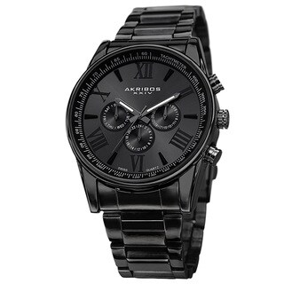Akribos XXIV Men's Multifunction Tachymeter Stainless Steel Black Bracelet Watch