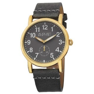 August Steiner Women's Swiss Quartz Leather Gold-Tone Strap Watch with FREE GIFT