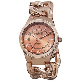 August Steiner Women's Swiss Quartz Diamond Chain Link Rose-Tone Bracelet Watch