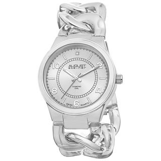 August Steiner Women's Swiss Quartz Diamond Chain Link Silver-Tone Bracelet Watch