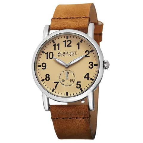 August Steiner Women's Swiss Quartz Leather Brown Strap Watch