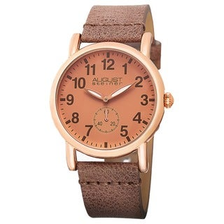 August Steiner Women's Swiss Quartz Leather Rose-Tone Strap Watch
