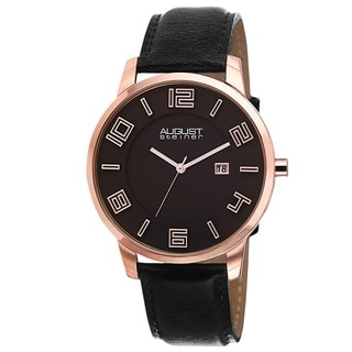 August Steiner Men's Ultra-Thin Swiss Quartz Leather Black Strap Watch