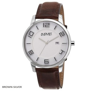 August Steiner Men's Ultra-Thin Swiss Quartz Watch with Leather Strap