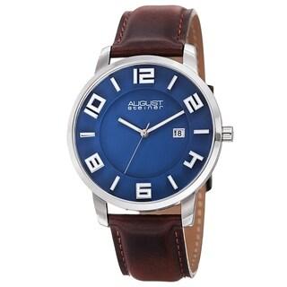 August Steiner Men's Ultra-Thin Swiss Quartz Watch with Leather Strap