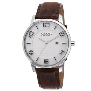 August Steiner Men's Ultra-Thin Swiss Quartz Leather Brown Strap Watch
