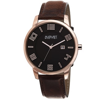 August Steiner Men's Ultra-Thin Swiss Quartz Leather Rose-Tone Strap Watch