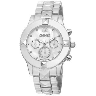 August Steiner Women's Swiss Quartz Crystal Multifunction Silver-Tone Bracelet Watch