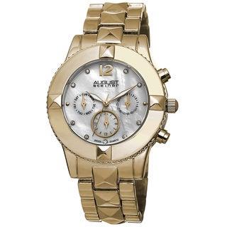 August Steiner Women's Swiss Quartz Crystal Multifunction Gold-Tone Bracelet Watch with FREE GIFT
