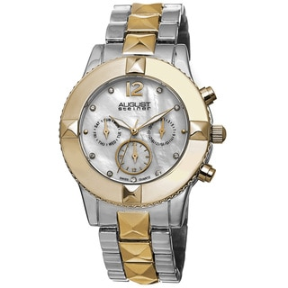 August Steiner Women's Swiss Quartz Crystal Multifunction Two-Tone Bracelet Watch
