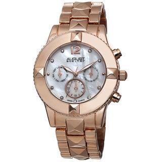 August Steiner Women's Swiss Quartz Crystal Multifunction Rose-Tone Bracelet Watch