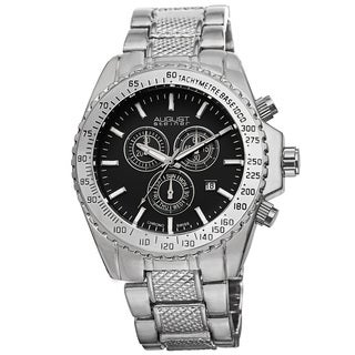 August Steiner Men's Tachymeter Swiss Quartz Chronograph Silver-Tone Bracelet Watch