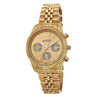 August Steiner Women's Swiss Quartz Multifunction Stainless Steel Gold-Tone Bracelet Watch